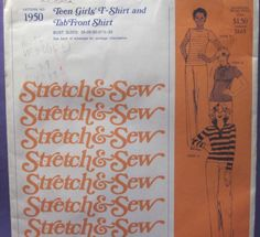 Stretch & Sew Pattern 1950 ~ T-Shirt and Tab Front Shirt - Chest 28-33