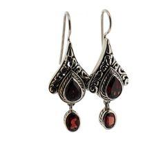Purple Leopard Boutique - Faceted Red Garnet Earrings Sterling Silver Bali Jewelry, $79.00 (http://www.purpleleopardboutique.com/faceted-red-garnet-earrings-sterling-silver-bali-jewelry/)
