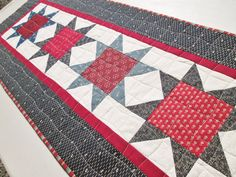 Quilted Americana Patriotic Star Table Runner by MoonDanceTextiles
