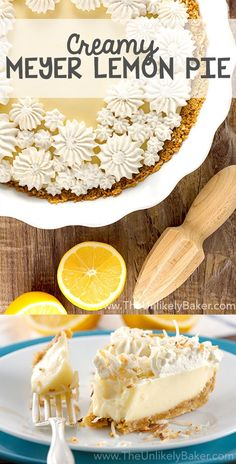 Perfectly sweet & tangy, luxuriously smooth & silky, every bite of this creamy Meyer lemon pie is a burst of bright & vibrant citrus flavor. via @unlikelybaker