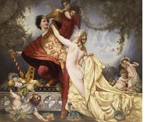 """A Berlin (KPM) porcelain plaque ~ """"Venus und Tannhauser"""" ~ Depicting the knight poet and Venus accompanied by putti Signed R. Dittrich circa late 19th century"""