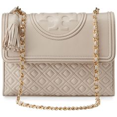 Tory Burch Fleming Quilted Convertible Shoulder Bag ($520) ❤ liked on Polyvore featuring bags, handbags, shoulder bags, bedrock, pink shoulder bag, quilted handbags, chain purse, zip purse and pink quilted purse