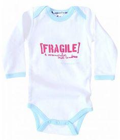 Bodys rigolo pour bébé fille et garcon Fragile : body bébé message manches longues