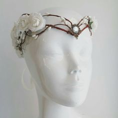 Elven Bride Tiara Elven Tiara Fairy Circlet ($48) ❤ liked on Polyvore featuring accessories, hair accessories, grey, crown tiara, bridal tiaras, bridal crown, tiara crown and bride hair accessories