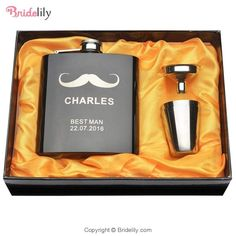 Set Of Engraved Customized Hip Flask Set Personalised Hip Flask, Personalized Wedding Gifts, Stainless Steel Cups, Incense Cones, Custom Boxes, Glazed Ceramic, Thank You Gifts, Fun Drinks, Valentine Day Gifts