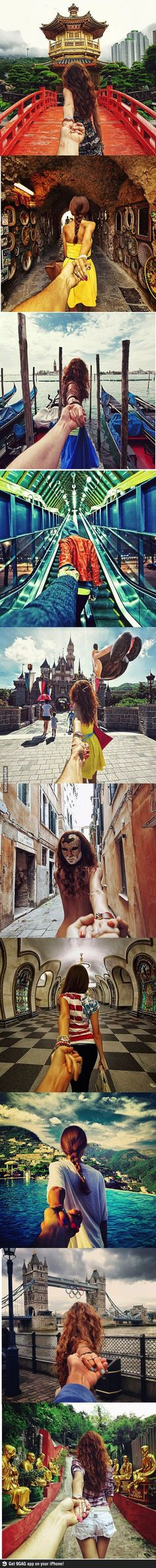 Photographer's girlfriend leads him around the world.....cute idea for traveling