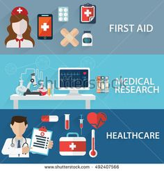 Health care and Medical flat banners set with research healthcare first aid.