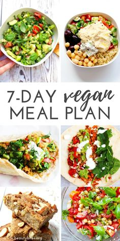 7-day vegan meal plan and vegan challenge! Challenge yourself to eat plant-based for a week to lose weight, feel great and improve your skin. This vegan meal plan features clean eating vegan breakfasts, vegan lunch ideas and vegan dinner ideas that will make you forget all about meat and cheese. Vegan Grocery List   Clean Eating Recipes   Vegan Recipes Vegan Meal Plans, Vegan Meal Prep, Vegan Dinner Recipes, Diet Meal Plans, Vegan Dinners, Vegan Recipes Easy, Lunch Recipes, Whole Food Recipes, Vegan Weekly Meal Plan