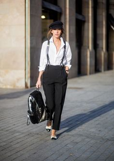 Black pants with Chanel suspenders