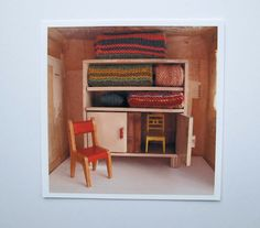 red chair - art photography - square print - paper houses project : cathy cullis