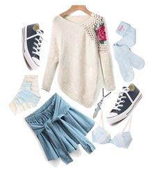 """93"" by glitterb ❤ liked on Polyvore featuring moda, Bling Jewelry, Converse, casual, blueandwhite, skirt, Blue e converse"