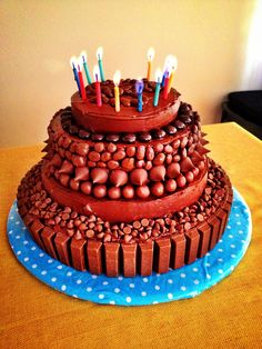 This Was My Birthday Cake Today Rasinettes Junior Mints Hershey Kisses Whoppers Mini And KitKats On Top Of 5 Layers Devils Food Vanilla
