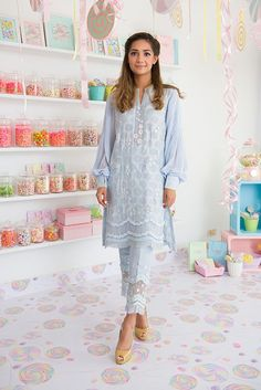 "Set to launch her highly coveted Eid summer collection; Nazli Akbar's ""Sugar rush"" pakistani trends Pakistani Fashion 2017, Pakistani Casual Wear, Pakistani Couture, Pakistani Outfits, Indian Outfits, Collection 2017, Summer Collection, Outfit Stile, Desi Wear"
