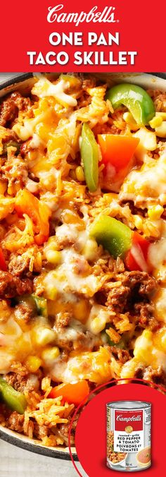 One Pan Taco Skillet lb g) lean ground beef 1 red pepper, 1 green pepper, cut into chunks 1 can CAMPBELL'S® Condensed Roasted Red Pepper & Tomato Soup 1 cups mL) water 1 tbsp mL) chili powder 2 tsp mL) onion powder 1 cups mL) white rice 1 … Tomato Soup Recipes, Meat Recipes, Mexican Food Recipes, Cooking Recipes, Healthy Recipes, Taco Skillet Recipe, Skillet Meals, Skillet Recipes, Skillet Pan
