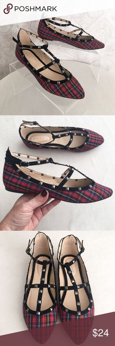 Red plaid Bamboo caged & studded flats I ❤️❤️❤️ these sweet flats! Royal Stewart tartan fabric with velvety black cage straps. Gunmetal pyramid studs. Pointed toe. Lightly padded footbed. Flocked rubber outsole with teeny heel. NWT; never worn and in original box. Bamboo Shoes Flats & Loafers