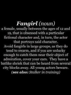 Fangirl defined; I am offically a Fangirl. Lord Of the Rings. The Hobbit. Richard Armitage. Captain America. Charles Dickens. Elizabeth Gaskell. BBC Robin Hood. The Chronicles Of Narnia (The books and the first movie, but not the second or third Narnia movie :P) Sir Guy Of Gisborne. Much from Robin Hood. Alan A Dale from Robin Hood.