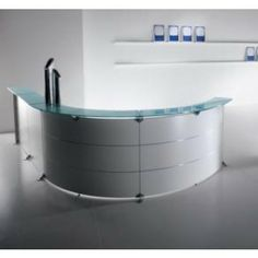 Edison White Curved Reception Desk - medical reception desk