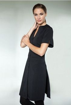 Here at Nirivana we are constantly thinking of ways to make your spa experience more enjoyable, so we have dropped the old uniform and come up with a whole new wardrobe! Salon Uniform, Spa Uniform, Hotel Uniform, Uniform Ideas, Staff Uniforms, Work Uniforms, Beauty Uniforms, Uniform Design, Short Sleeve Dresses