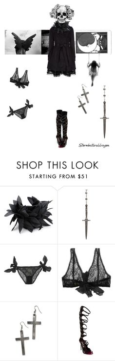 """""""Captive of Your Heart"""" by stormbattereddragon ❤ liked on Polyvore featuring Lisa Stewart, Pamela Love, Amulette, Ermanno Scervino, Gianmarco Lorenzi, black and white, cross earrings, leather cuff bracelets, skull and daggar"""