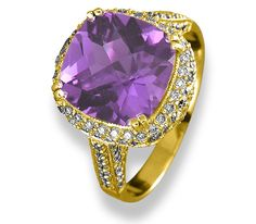 Jude Frances | 18K Gold, Amethyst with Diamonds Ring #judefrances #amethystring #amethyst #diamonds #mccaskillandcompany