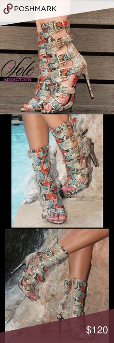 """Lola Snake Print Heels SHAFT HEIGHT 6.6"""" HEEL HEIGHT 4.75"""" HARDWARE GOLD 5 SIDE BUCKLE BOOTIE, WITH FULL INSIDE ZIPPER MADE OF FINE LEATHERETTE Nelly Bernal Shoes Heels"""