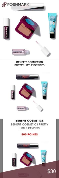Benefit Cosmetics Sephora Pretty Little Payoffs 💄 + Benefit Cosmetics & Sephora Pretty Little Payoffs + 500 point reward = $500 spent at Sephora in order to order this + Will ship 11/1 + This reward includes:  -0.1 oz/ 2.95 mL Benefit Cosmetics The POREfessional Face Primer -0.1 oz/ 2.95 mL Benefit Cosmetics They're Real! Lengthening & Volumizing Mascara -0.08 oz/ 2.36 mL Benefit Cosmetics Benetint Cheek & Lip Stain -0.1 oz/ 2.95 mL Benefit Cosmetics Hoola Matte Bronzer BOP -0.08 oz/ 2.36…