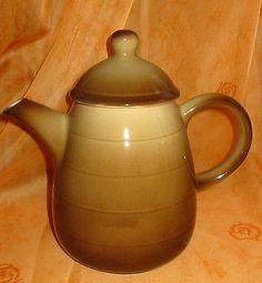 Melitta-Kaffeekanne-Burgund-Steingut-Kaffee-Kanne-mit-Deckel-braun-70er-Jahre