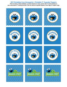 Cookie Monster Birthday Party Printables Package by Honeyprint
