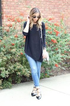 Love the asymmetrical hem and the lace-up pointy flats!!