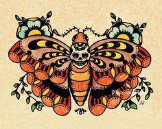 Old School Tattoo Art Death MOTH Skull Print 5 x 7, 8 x 10 or 11 x ...