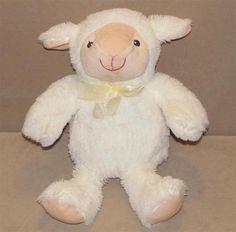 Best Made Toys White Tan Lamb Sheep Plush Stuffed Animal Sewn Eyes Yellow Bow #BestMadeToy
