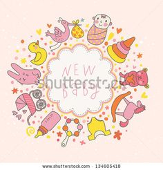 baby vector card. Cartoon childish elements - baby carriage, stork, hare, bear, rattle and other in funny style. Ideal for invitation by smilewithjul, via ShutterStock