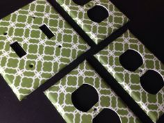 Hollywood regency Sage Green and White Quatrefoil Double Light by COUTURELIGHTPLATES, $15.95