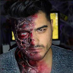 Un vrai maquillage professionnel, la transformation bien gore de la moitié du visage