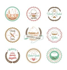 Vintage bakery badges labels and logos vector 4163464 - by DaryaGribovskay on VectorStock®