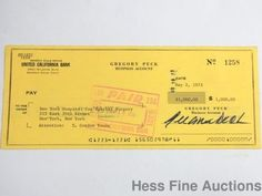 Authentic Gregory Peck Actor Autograph Signed Bank 1973 New York Hospital Check