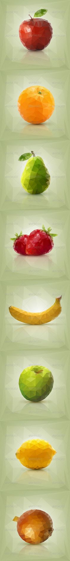Triangle Polygon Fruit Vector Illustrations - Food Objects: