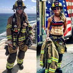 Working girls need to wear the uniform, and they don't look as beautiful as in casual outfit. Enjoy photos of hot working girls with and without uniform that will make your day. Hot Firefighters, Female Army Soldier, Female Firefighter, Volunteer Firefighter, Firefighter Memes, Wildland Firefighter, Military Girl, Military Women, Hot Girls