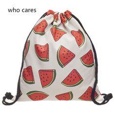 Who Cares 3D Printing Backpack Women White Watermelon Mochila Feminina daily Fashion Casual Drawstring Bag For Girl