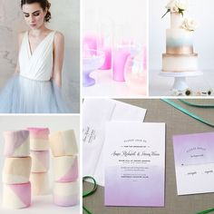 Ombre Wedding Inspiration featuring our Ombre invitation in Hyacinth: https://www.etsy.com/shop/finedaypress?ref=l2-shopheader-name&section_id=14806935