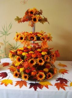 Bridal shower cupcake tree in fall colors by Barbara Grollo