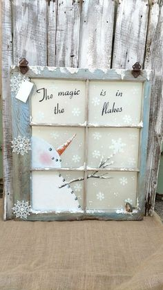 pane ideas without glass Custom Window Treatments, Blinds, Shades Noel Christmas, Christmas Signs, Rustic Christmas, Winter Christmas, Christmas Ornaments, Christmas Windows, Snowman Crafts, Christmas Projects, Holiday Crafts