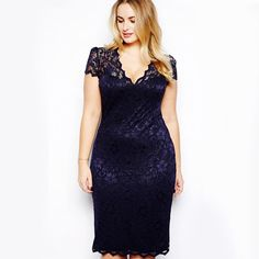 Fashion Sexy Women Plus Size Lace Short Sleeve Party Evening Dress