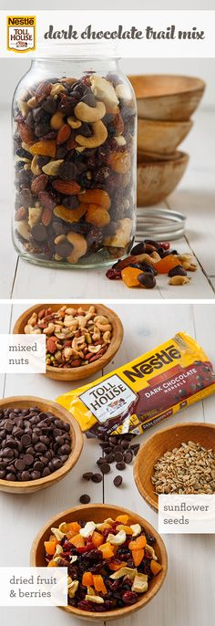 Prep this simple and tasty portable snack, sweetened with NESTLÉ® TOLL HOUSE® Dark Chocolate Morsels, and always be ready with an on-the-go treat for your busy day. With a no-bake recipe this simple a(Trail Mix Recipes) Yummy Snacks, Yummy Food, Tasty, Baking Recipes, Snack Recipes, Trail Mix Recipes, Fruit Recipes, Easy Recipes, Recipies
