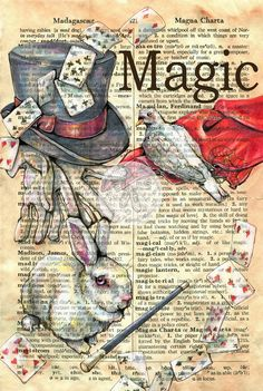 """""""Magic"""" Mixed Media Drawing on Dictionary Page - prints available at www.etsy.com/shop/flyingshoes - flying shoes art studio"""