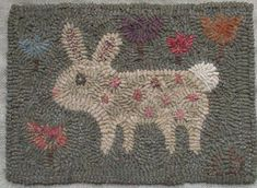 Your place to buy and sell all things handmade - Primitive Folk Art Rug Hooking PatternLittle Miss Tulip - Folk Embroidery, Learn Embroidery, Embroidery Patterns, Machine Embroidery, Modern Embroidery, Embroidery Stitches, Rug Hooking Designs, Rug Hooking Patterns, Primitive Folk Art
