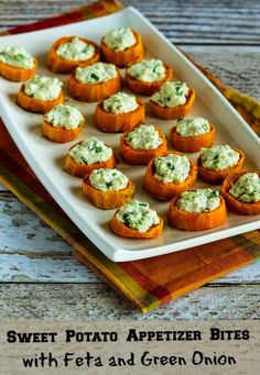 Kalyn's Kitchen®: Sweet Potato Appetizer Bites with Feta and Green Onion (Gluten-Free, Meatless)