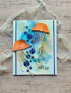 Hello by Donna Sledzik Watercolor Background, Watercolor Paper, Memory Box Cards, Paper Crafts, Diy Crafts, Good Morning Everyone, Die Cut Cards, Crabs, White Ink