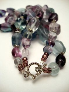 Purple and Teal Fluorite Gemstone Necklace, Chunky Beaded Statement Necklace. $85.00, via Etsy.