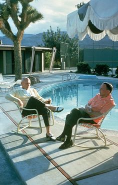 Frank Sinatra and Yul Brynner by Sinatra's pool
